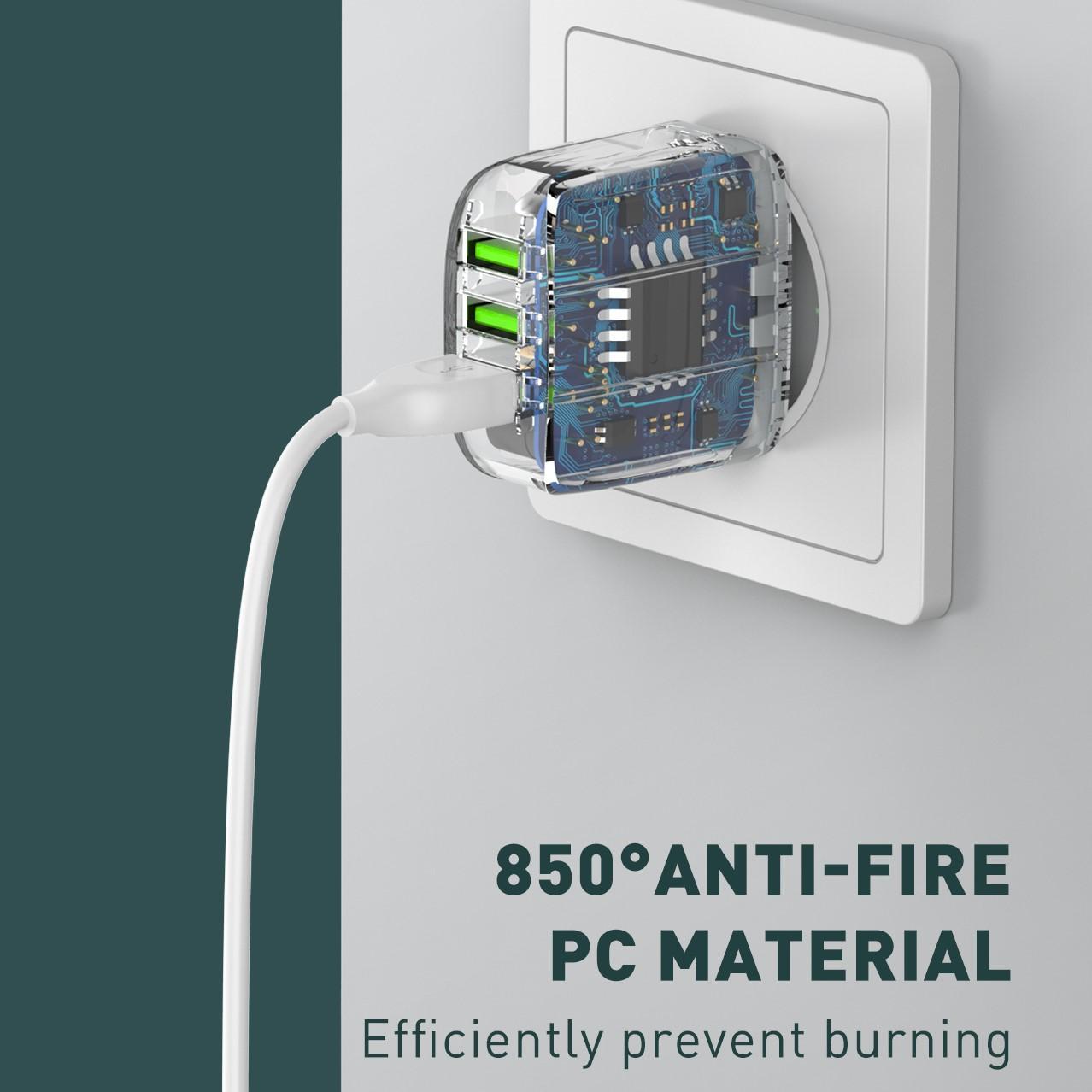 USB WALL CHG - 3P - QC - 3.4A