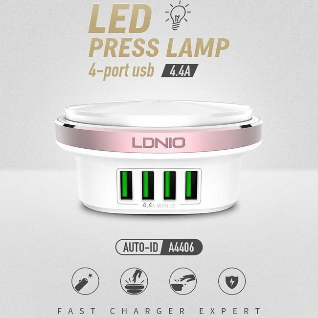 USB DSK CHARGER + LIGHT - 4P 4.4A