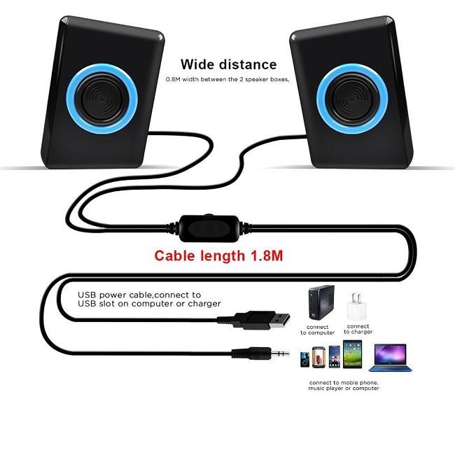 USB SPK: 2.0 BK & BLU